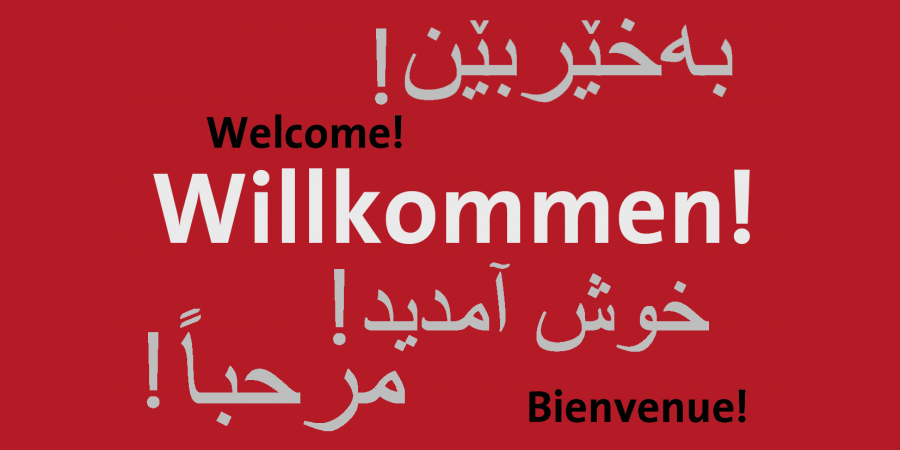 Graphics showing the word Welcome in different languages
