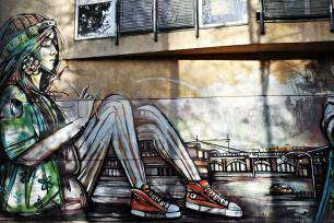 Photo of a mural by Italian street artist Alicé