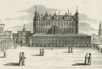 Cathedral church and palace on the jousting lane (today southern Schlossfreiheit square). © Stadtmuseum Berlin