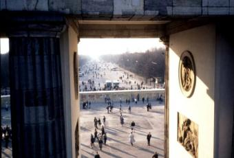 Looking west through the Brandenburg Gate at the Berlin Wall, 1990