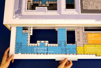 This model shows the exhibition rooms on the first floor
