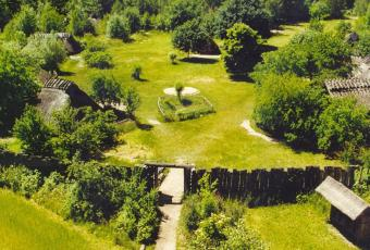 Aerial view of the museum village in summer