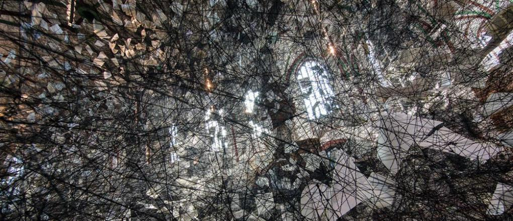 Photo of Chiharu Shiota's art installation LOST WORDS in Museum St. Nicholas' Church